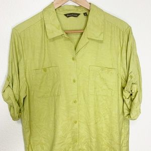 Tommy Bahama | Women's Green Palm Button Down Tee